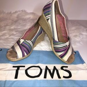 Toms Striped Peep Toe Wedge Espadrille Size 11